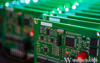 Close up of many electronic printed circuit boards with many surface mount components