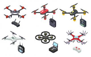 Drone isometric icon isolated on white background