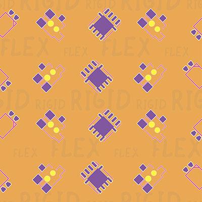 colorful illustration of a rigid-flex PCB