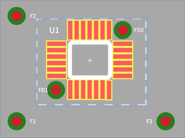PCB with Global fiducial markers and Local fiducial markers.