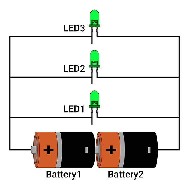 Parallel circuit with 3 LEDs connected to Battery