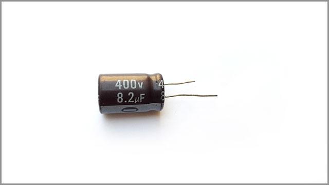 A standard 8.2 MFD capacitor
