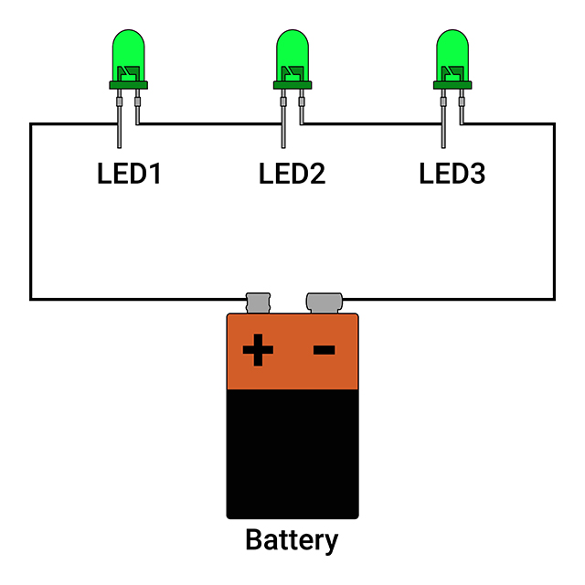 Series circuit with 3 LEDs connected to Battery