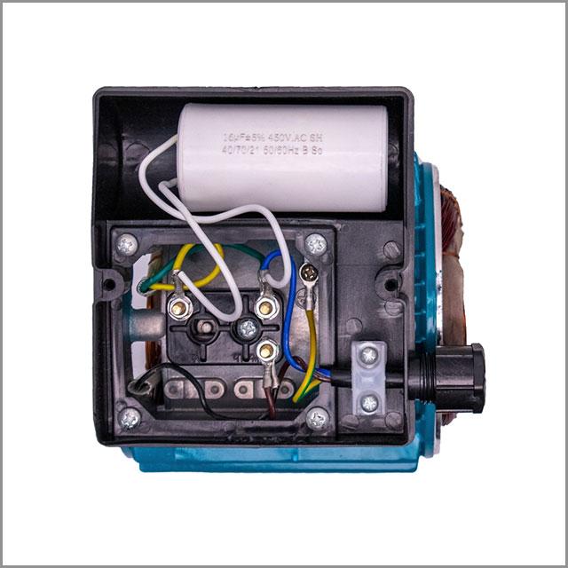 A capacitor inside a pump motor