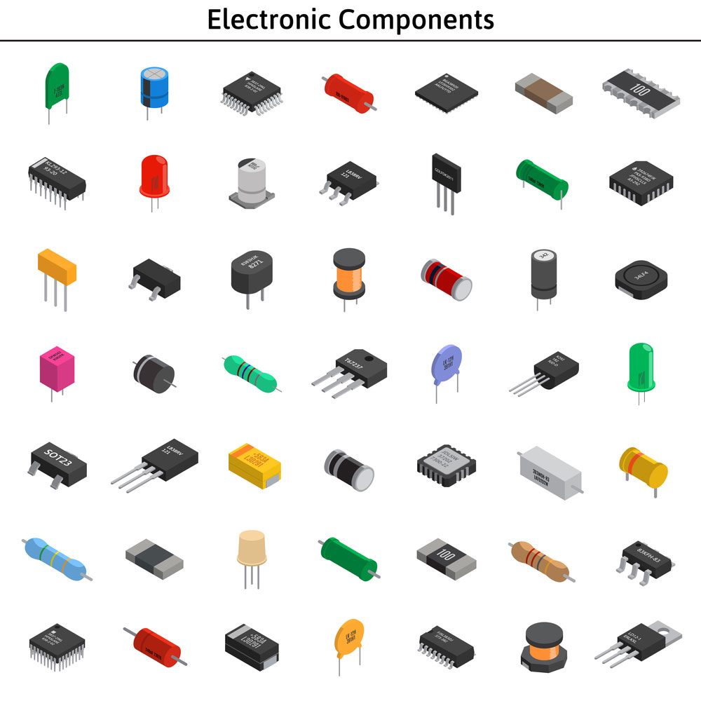 various unlabeled isometric electronic components