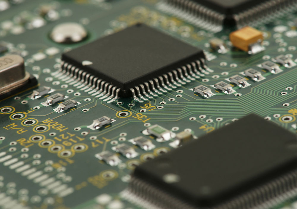 Picture of chip/integrated circuit on a printed integrated circuit board