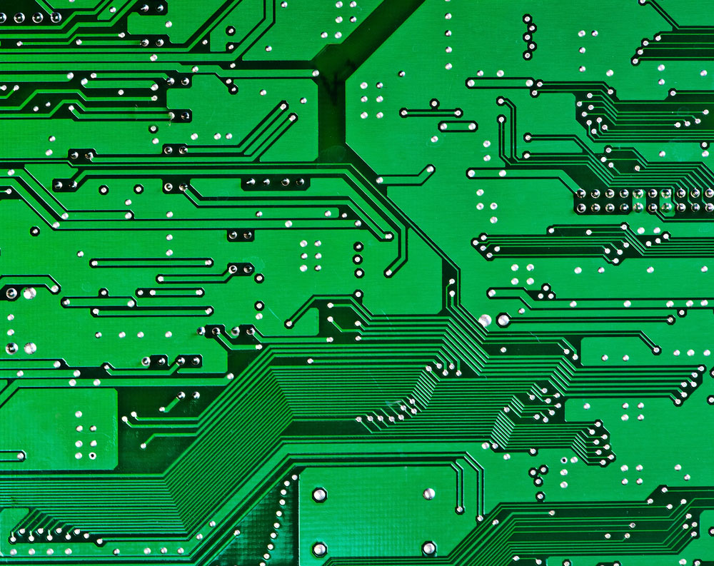 Simple Image of a plain green printed circuit board