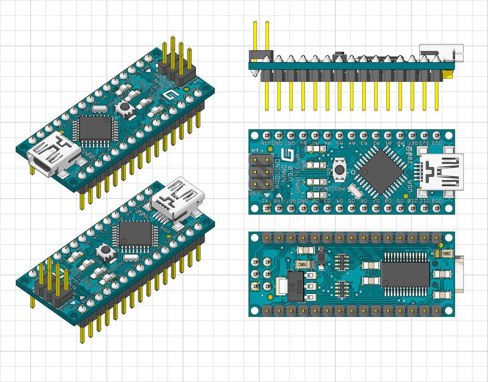 (Arduino Nano 正面、背面和侧面视图)