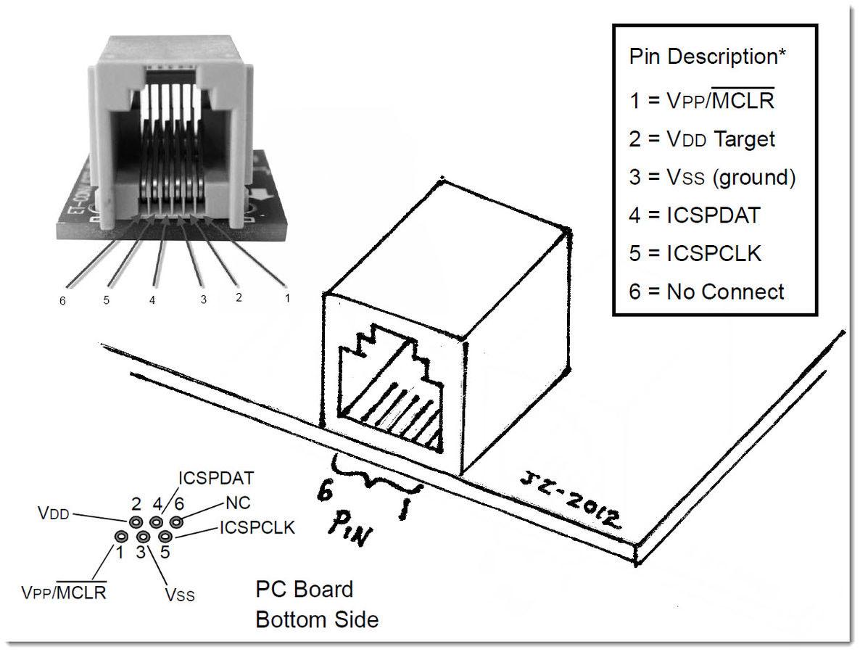 RJ11转ICSP PIC编程器